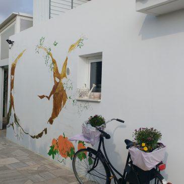 Beginning the mural