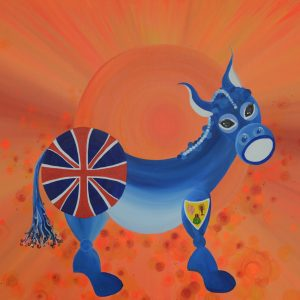 On the island of Turks and Caicos, donkeys roam wild and have become associated with features of the island. My representation of the Caicos donkey features the flag of Turks and Caicos as part of the donkeys markings.