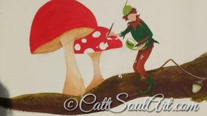 Pixie painting spots on toadstools