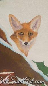 Winter fox guarding the fairy house and the sleeping fairies