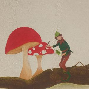 Have you ever wondered how the toadstools get their beautiful colours and their white spots? Here is the Toadstool Pixie with his conker shell of white paint, painting the spots on all the toadstools!
