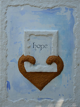 "HOPE is part of the "" Healing the Heart of Cyprus"" collection. At the beginning of 2013 I felt guided to create a series of paintings to 'heal the heart of Cyprus' and created pages of sketches of how these paintings would be. I started work on them and shortly afterwards here in Cyprus we experienced the collapse of the banking system and the 'crisis' began. I continued my work and exhibited the paintings in September 2013 for the first time. Throughout history Cyprus has seen difficult times. This year again (2013) again she has faced more challenges. Healing the Heart of Cyprus is about giving love back to this beautiful Island. These paintings are to bring new faith and hope. To renew and replenish. To relight the fire within the souls of the nation and reawaken the energy of Aphrodite,goddess of love and beauty, who protects Cyprus and empowers both women and men who are ready to embrace the softer, feminine aspects of self. Find God's light within the heart of Cyprus. Find God's light within your own soul. In each painting Cyprus is represented by the heart shape and each painting contains a physical property of this magical Island."