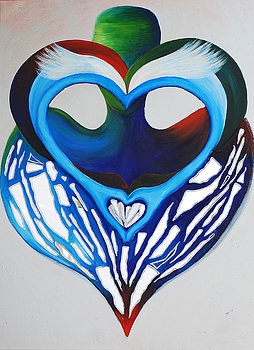 OPEN HEART is the largest of the Best Reflections group. These paintings are inspired by the ancient art of TaiChi. The fragmanted mirror symbolically reflects our best energies back to us in a diffused manner, in so enriching our souls.